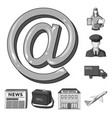 mail and postman monochrome icons in set vector image