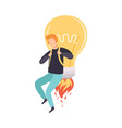 man flying with glowing bright bulb jetpack vector image vector image