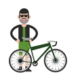 man with facial hair and bike icon vector image
