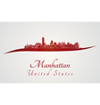 Manhattan skyline in red vector image vector image