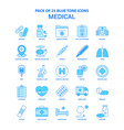 medical blue tone icon pack - 25 icon sets vector image vector image