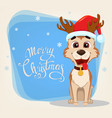 merry christmas greeting card cute dog wearing vector image