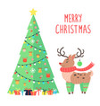 merry christmas greetings from cartoon reindeer vector image vector image
