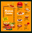 mexican cuisine menu with lunch offer and prices vector image vector image