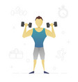 person with dumbbells flat character design vector image
