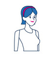 portrait young woman smiling with blue hair vector image vector image