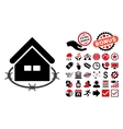 Prison Building Flat Icon with Bonus vector image vector image