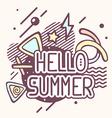 retro color hello summer quote on abstrac vector image