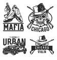 set mafia emblems vector image vector image