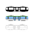 set of flat tram icon cartoon outline vector image vector image