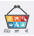 Shopping basket with icons of online e-commerce vector image vector image