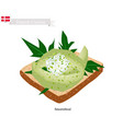 smorrebrod with avocado the national dish of denm vector image vector image