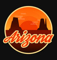 travel arizona destination retro round icon vector image vector image