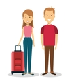 travelers group with suitcases avatars vector image