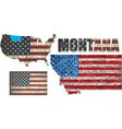 USA state of Montana on a brick wall vector image