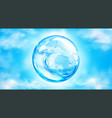 water splashing sphere on blue sky background vector image