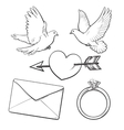 Wedding engagement icon set with doves heart vector image vector image