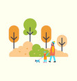 woman walking with child and cute pet dog outdoors vector image vector image