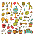 Set of sport icons in sketch style Hand drawn vector image