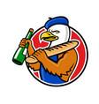 bald eagle baguette wine circle mascot vector image vector image