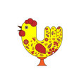 beautiful rooster for design in the russian style vector image vector image