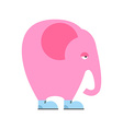 Big pink elephant in shoes Sad animal with trunk