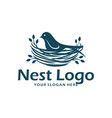 bird nest logo design template vector image