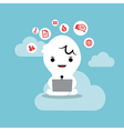 business man working with laptop cloud network vector image vector image