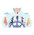 business people race to reach target first vector image