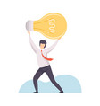 businessman holding big glowing light bulb above vector image vector image