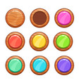 cartoon wooden buttons set vector image vector image