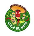 cinco de mayo icon mariachi jalapenos vector image vector image