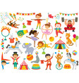 circus clipart set with various cartoons vector image
