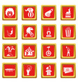 circus entertainment icons set red vector image vector image