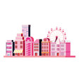 city building with carnival ferris wheel vector image
