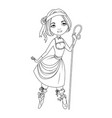 coloring book shepherdess character vector image vector image