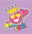 cute patches badge cool smile crown heart fashion vector image vector image