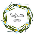daffodils flower poster with wreath of wild vector image