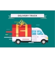 Delivery transport truck van with gift box vector image vector image