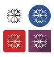 dotted icon snowflake in four variants vector image vector image
