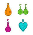 earrings icon set color outline style vector image