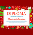 education diploma certificate with christmas gifts vector image vector image