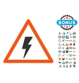 Electricity Shock Warning Icon with 2017 Year vector image