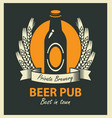 emblem for beer pub with bottle and wheat ears vector image vector image