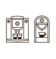 espresso machine and coffee maker line icons vector image