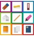 flat icon stationery set of supplies notepaper vector image vector image