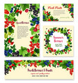fresh berries and fruits posters templates vector image vector image