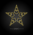golden star with arrows on black background vector image vector image