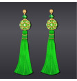 green and gold beaded earrings with tassels vector image vector image