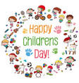 group of children with banner vector image vector image
